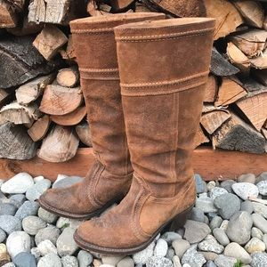 Frye Jane Tall Leather Boots 6 Brown Riding Heel